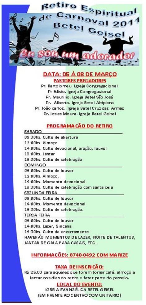 PROPAGANDA DO RETIRO ESPIRITUAL DE CARNAVAL