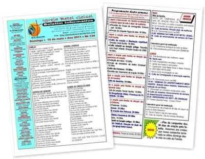 Exibir BOLETIM INFORMATIVO DA IGREJA BETEL DO DIA 16.05.2011
