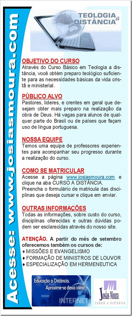 PANFLETO DO CURSO TEOLOGICO A DISTÂNCIA.