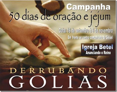 CARTAZ DA CAMPANHA DOS 50 DIAS - DERRUBANDO O GIGANTE.