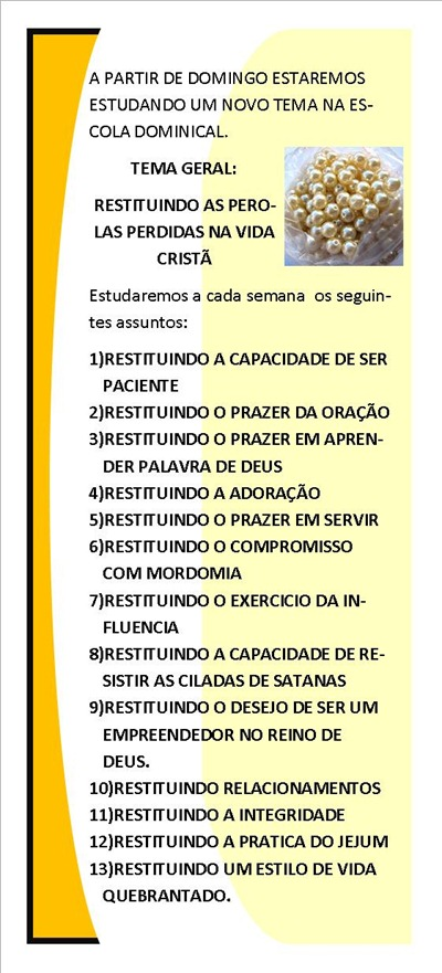 PANFLETO DA DIVULGAÇÃO DA ESCOLA BIBLICA DOMINICAL